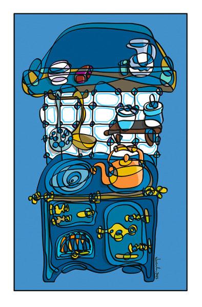 cociña azul